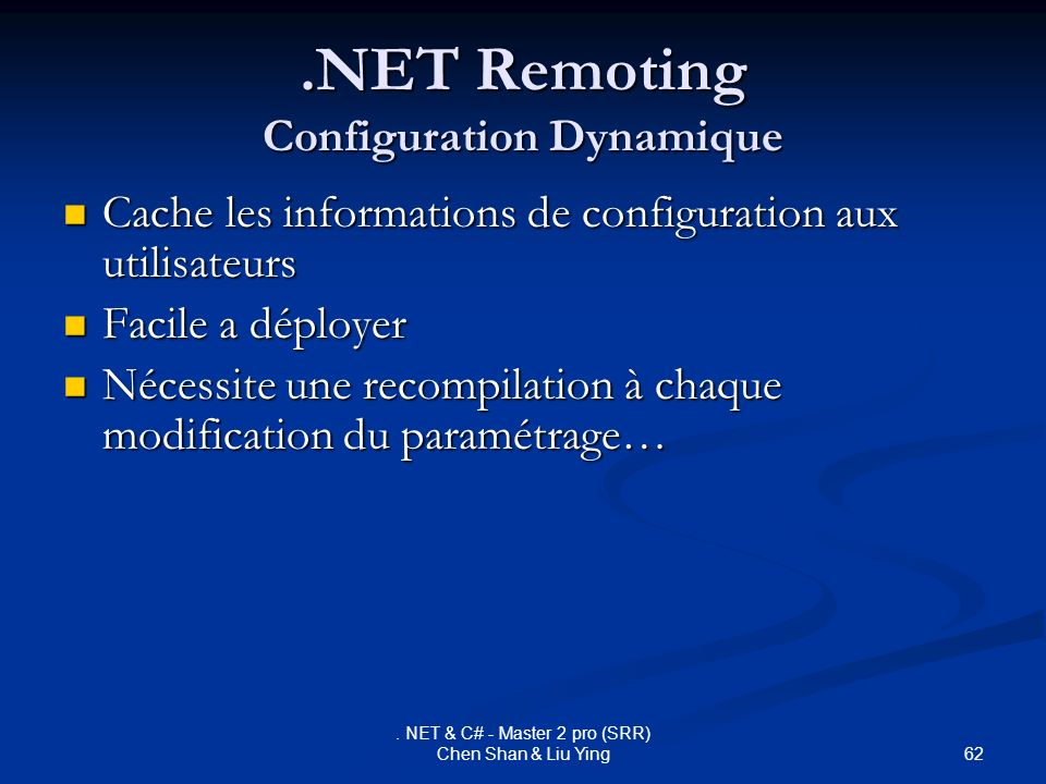.NET Remoting Configuration Dynamique
