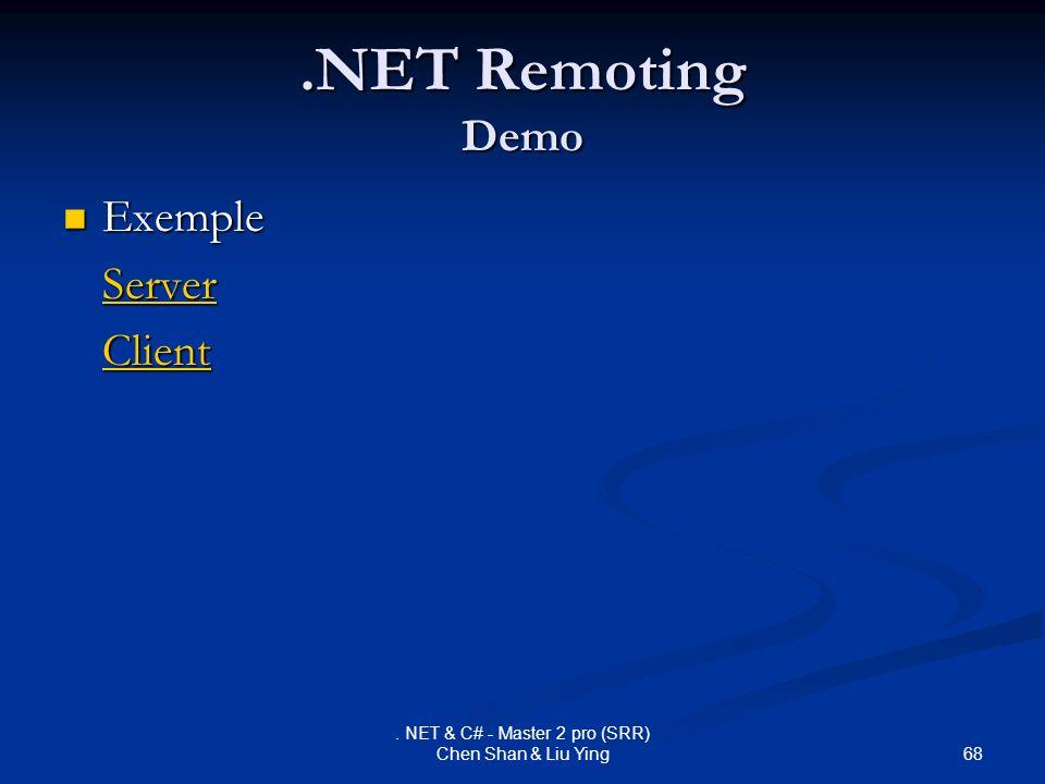 . NET & C# - Master 2 pro (SRR) Chen Shan & Liu Ying