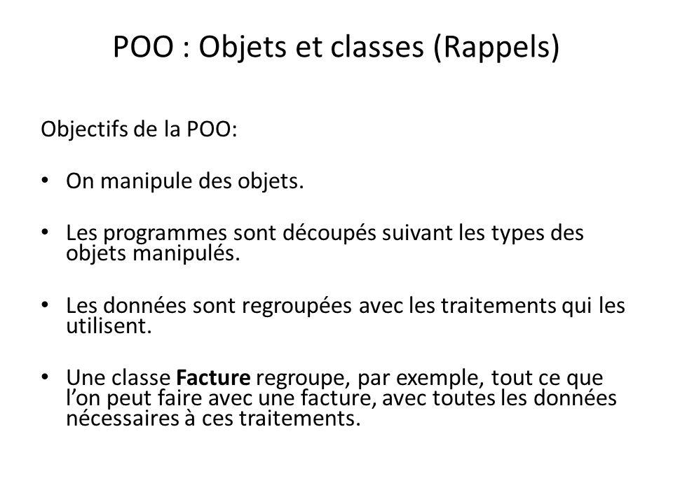 POO : Objets et classes (Rappels)