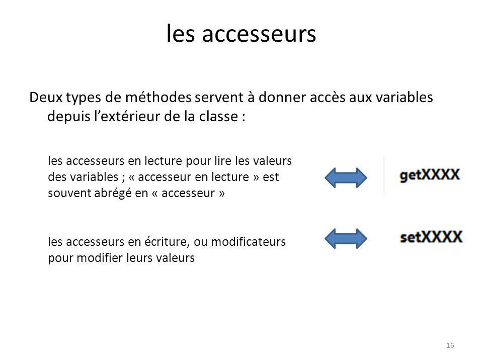les accesseurs Deux types de méthodes servent à donner accès aux variables depuis l'extérieur de la classe :