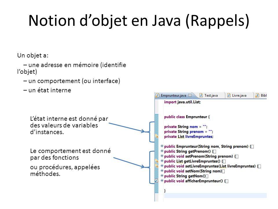 Notion d'objet en Java (Rappels)