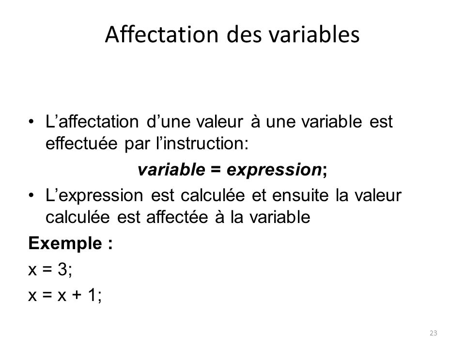 Affectation des variables