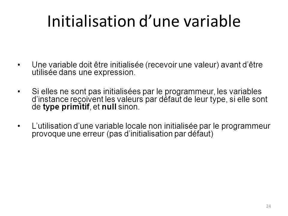 Initialisation d'une variable