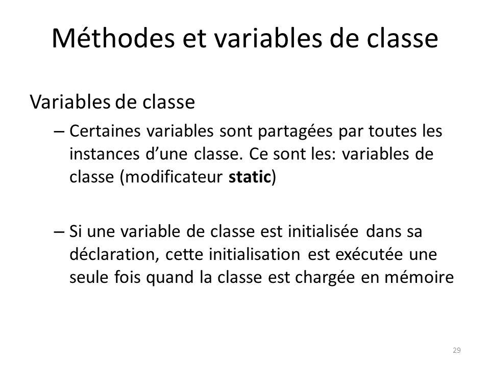 Méthodes et variables de classe
