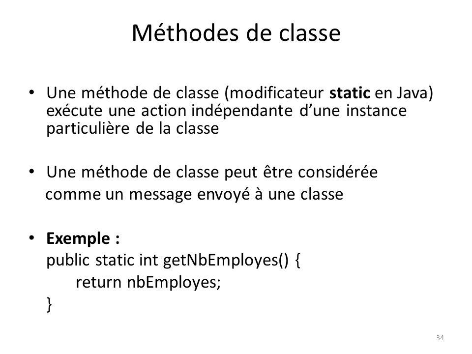 Méthodes de classe Une méthode de classe (modificateur static en Java) exécute une action indépendante d'une instance particulière de la classe.