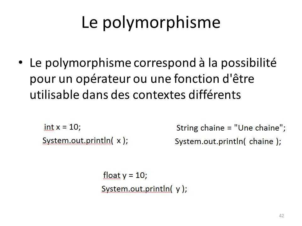 Le polymorphisme Le polymorphisme correspond à la possibilité pour un opérateur ou une fonction d être utilisable dans des contextes différents.