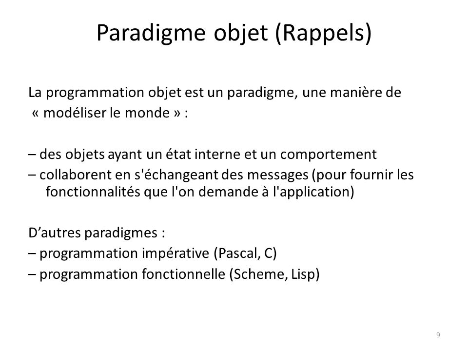 Paradigme objet (Rappels)