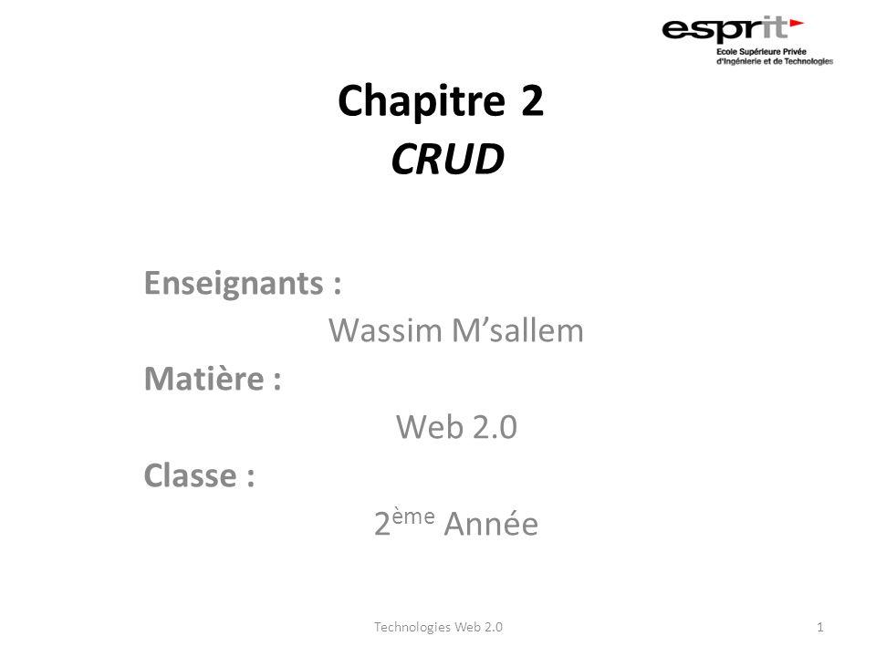 Chapitre 2 CRUD Enseignants : Wassim M'sallem Matière : Web 2.0