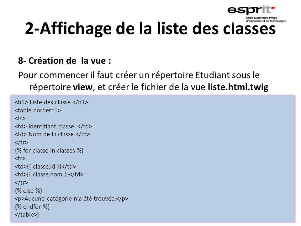 2-Affichage de la liste des classes