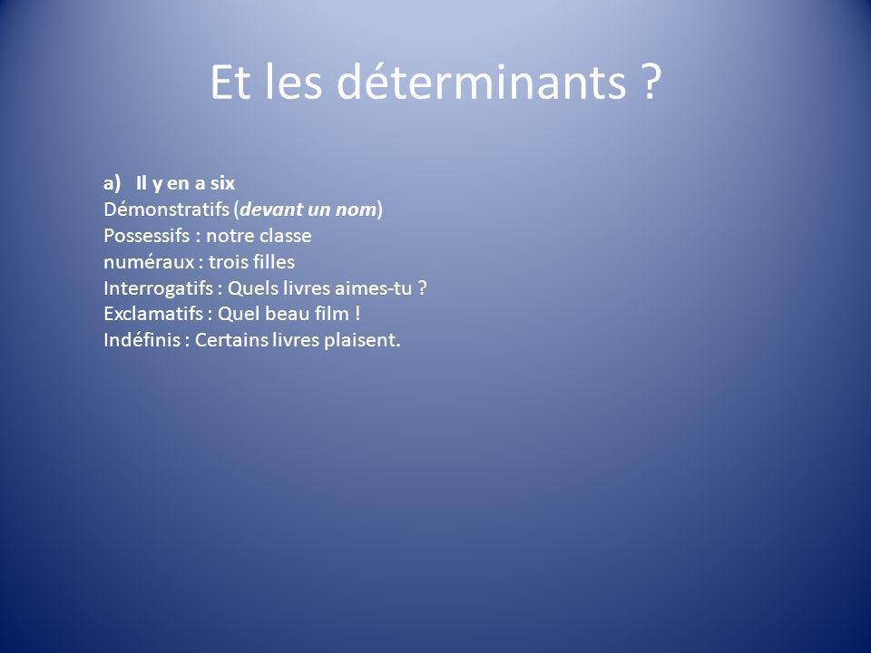 Et les déterminants Il y en a six Démonstratifs (devant un nom)