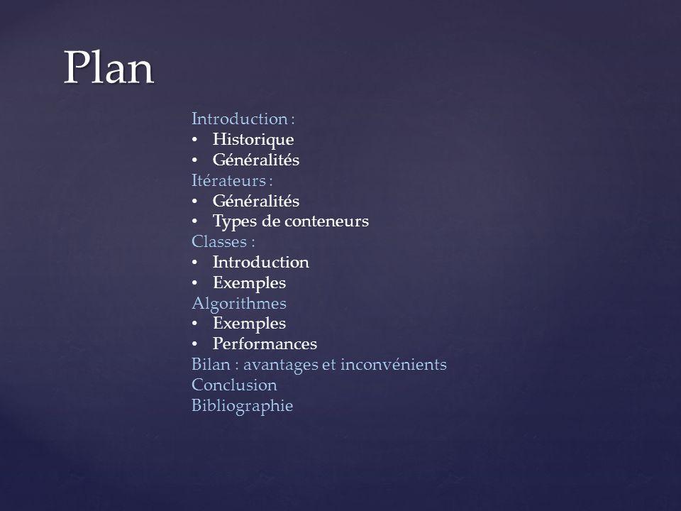 Plan Introduction : Historique Généralités Itérateurs :