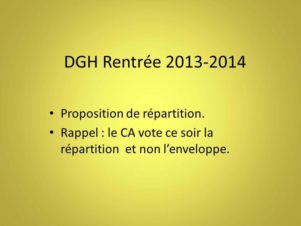 DGH Rentrée 2013-2014 Proposition de répartition.