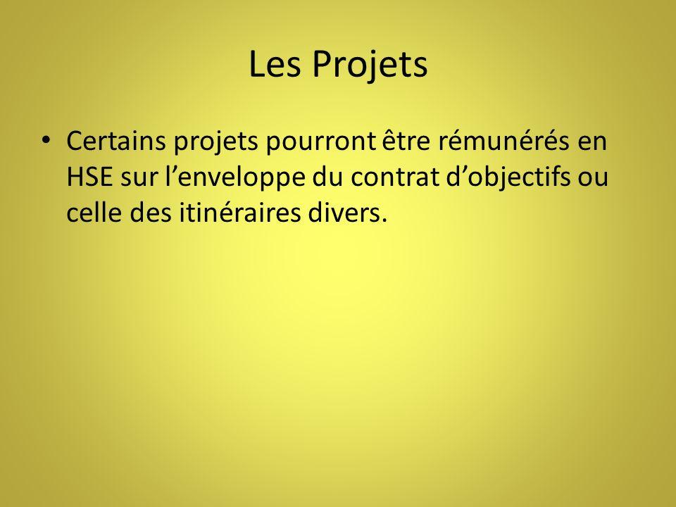 Les Projets Certains projets pourront être rémunérés en HSE sur l'enveloppe du contrat d'objectifs ou celle des itinéraires divers.