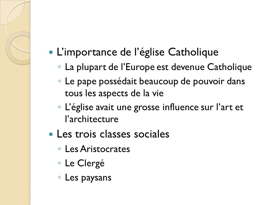 L'importance de l'église Catholique