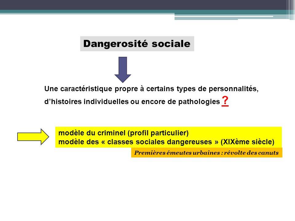 Dangerosité sociale Une caractéristique propre à certains types de personnalités, d'histoires individuelles ou encore de pathologies