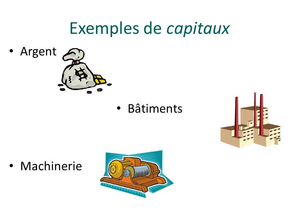 Exemples de capitaux Argent Bâtiments Machinerie