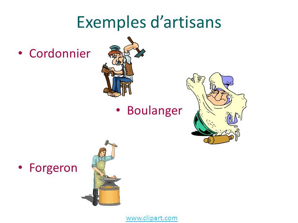 Exemples d'artisans Cordonnier Boulanger Forgeron www.clipart.com