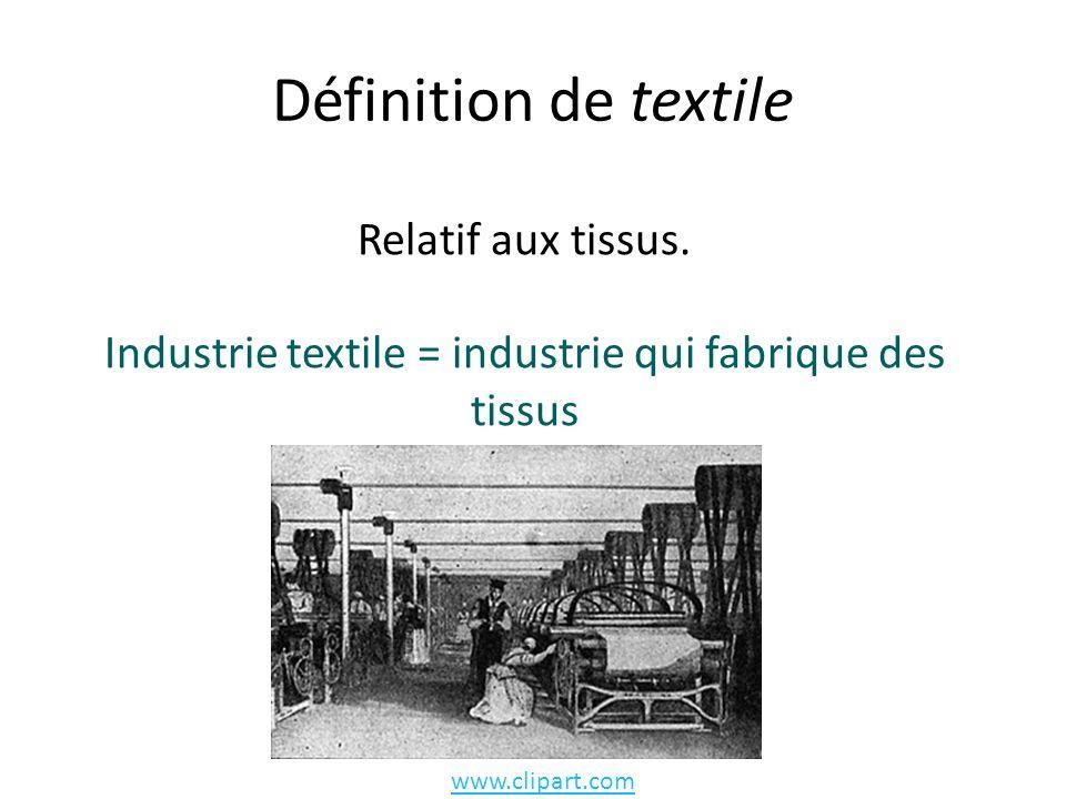 Industrie textile = industrie qui fabrique des tissus