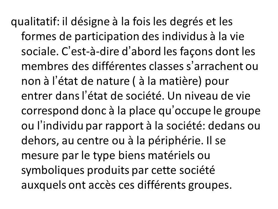 qualitatif: il désigne à la fois les degrés et les formes de participation des individus à la vie sociale.