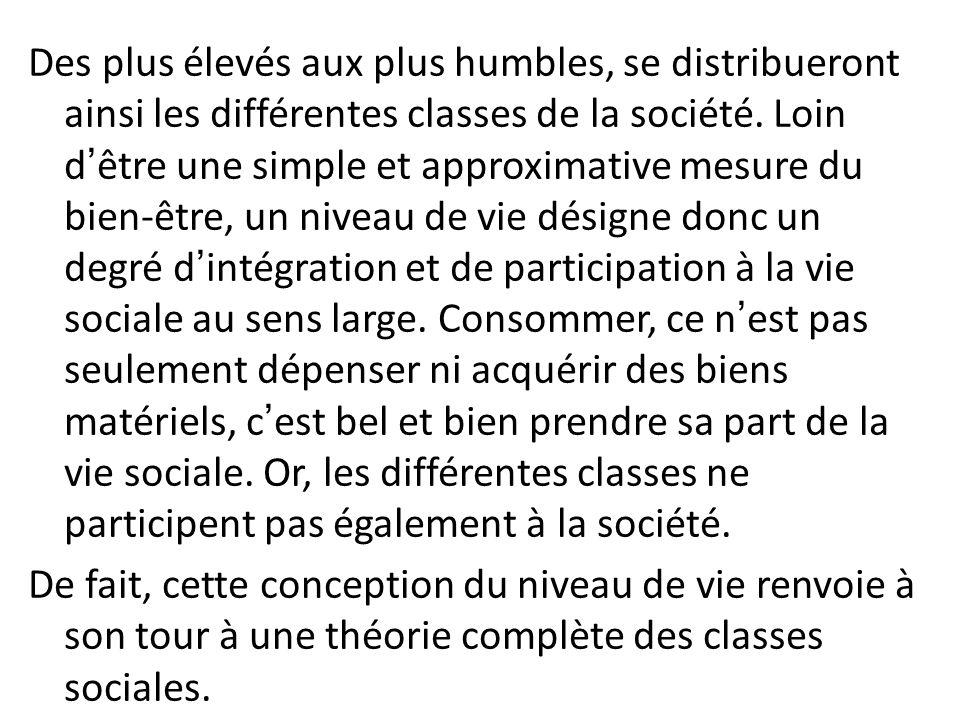 Des plus élevés aux plus humbles, se distribueront ainsi les différentes classes de la société.