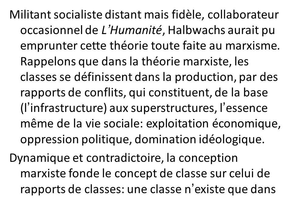 Militant socialiste distant mais fidèle, collaborateur occasionnel de L'Humanité, Halbwachs aurait pu emprunter cette théorie toute faite au marxisme.