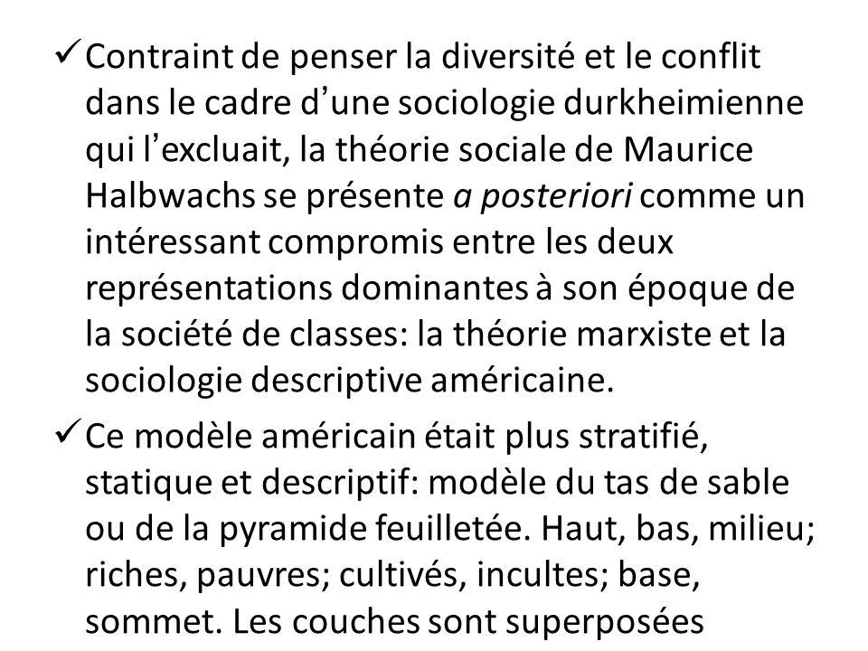 Contraint de penser la diversité et le conflit dans le cadre d'une sociologie durkheimienne qui l'excluait, la théorie sociale de Maurice Halbwachs se présente a posteriori comme un intéressant compromis entre les deux représentations dominantes à son époque de la société de classes: la théorie marxiste et la sociologie descriptive américaine.