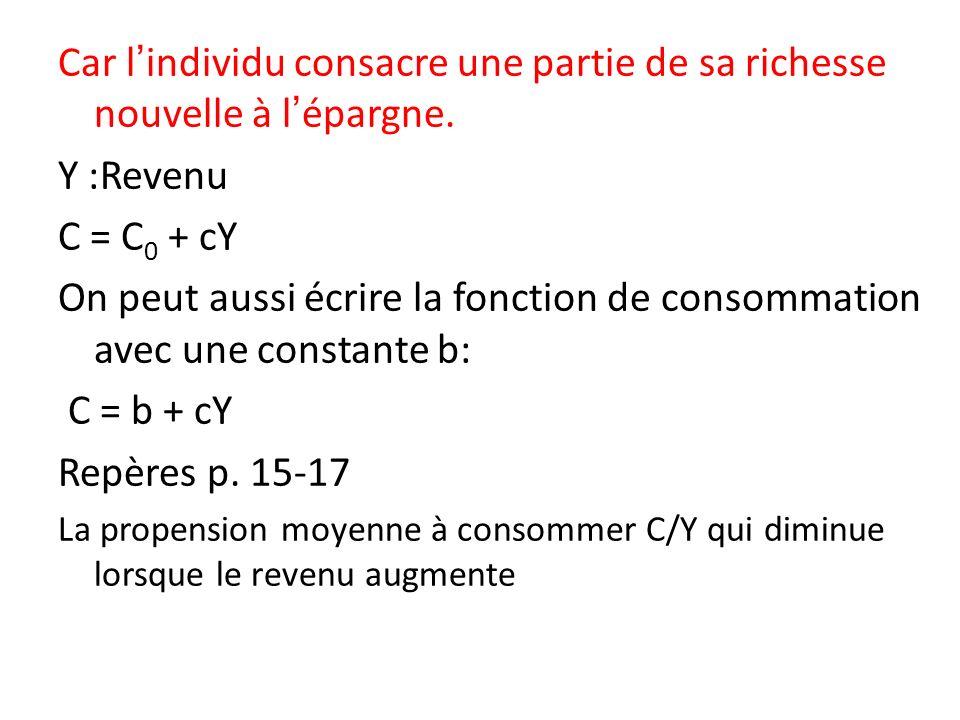 On peut aussi écrire la fonction de consommation avec une constante b: