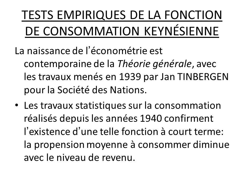 TESTS EMPIRIQUES DE LA FONCTION DE CONSOMMATION KEYNÉSIENNE