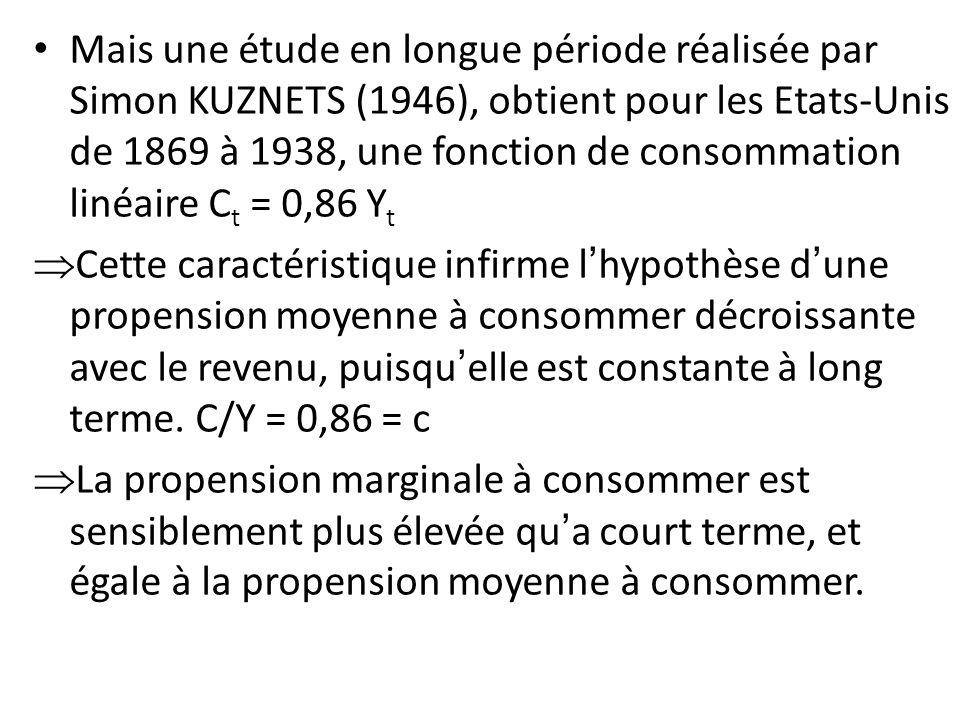Mais une étude en longue période réalisée par Simon KUZNETS (1946), obtient pour les Etats-Unis de 1869 à 1938, une fonction de consommation linéaire Ct = 0,86 Yt