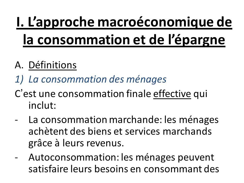 I. L'approche macroéconomique de la consommation et de l'épargne
