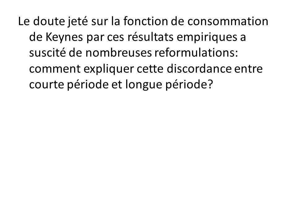 Le doute jeté sur la fonction de consommation de Keynes par ces résultats empiriques a suscité de nombreuses reformulations: comment expliquer cette discordance entre courte période et longue période