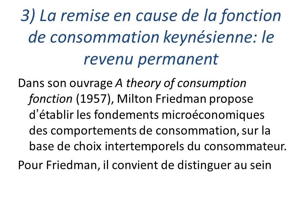 3) La remise en cause de la fonction de consommation keynésienne: le revenu permanent