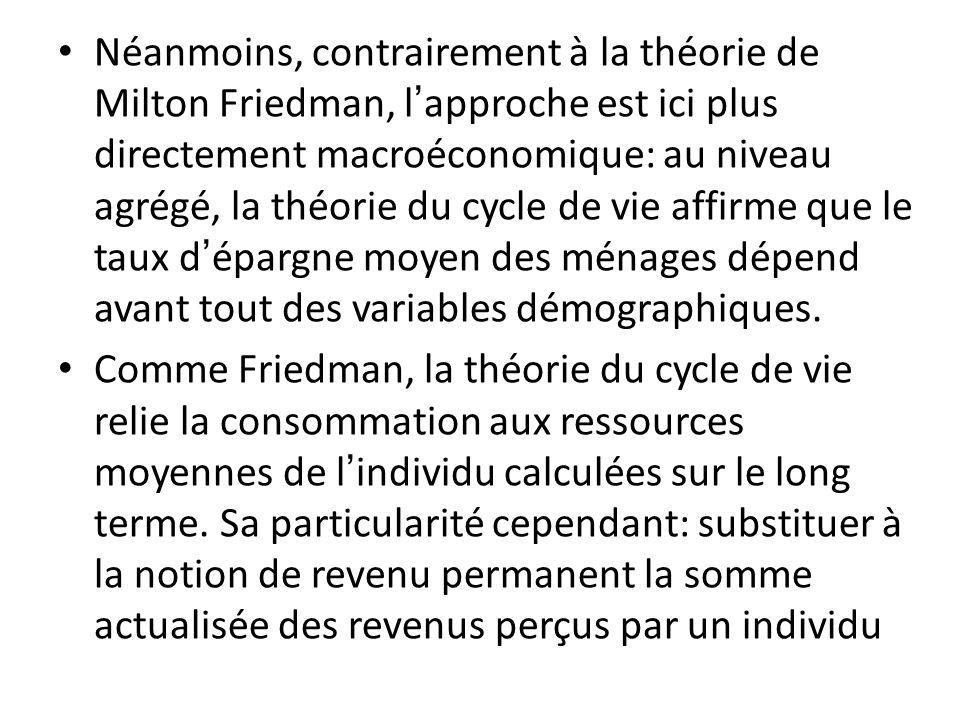 Néanmoins, contrairement à la théorie de Milton Friedman, l'approche est ici plus directement macroéconomique: au niveau agrégé, la théorie du cycle de vie affirme que le taux d'épargne moyen des ménages dépend avant tout des variables démographiques.
