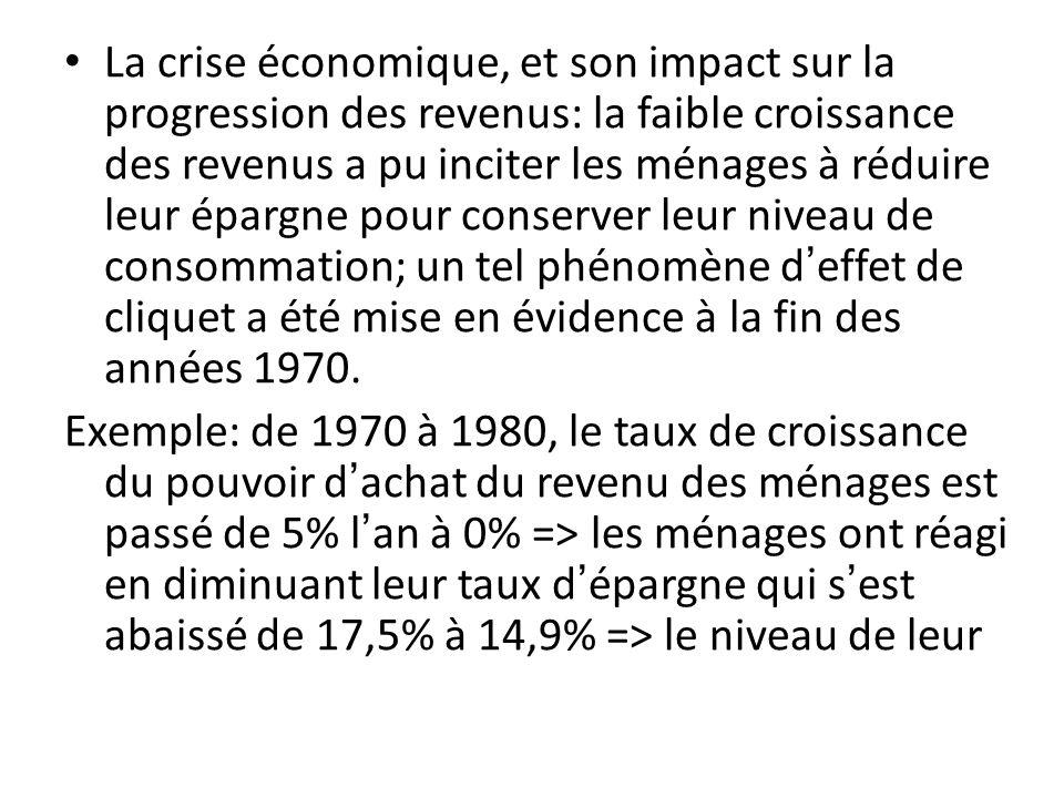 La crise économique, et son impact sur la progression des revenus: la faible croissance des revenus a pu inciter les ménages à réduire leur épargne pour conserver leur niveau de consommation; un tel phénomène d'effet de cliquet a été mise en évidence à la fin des années 1970.