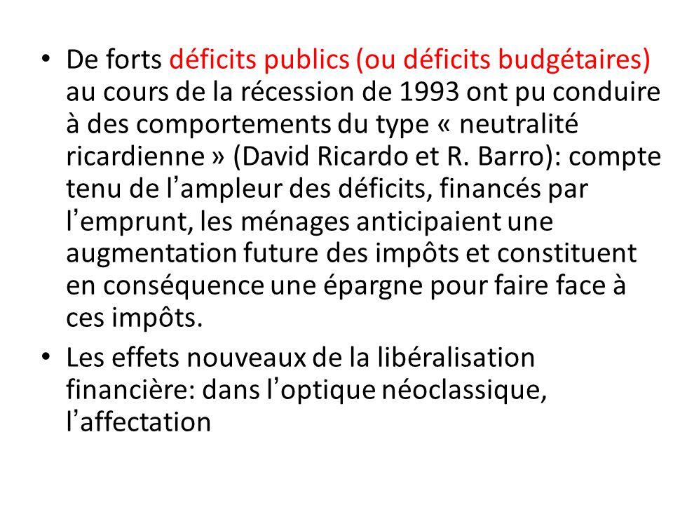 De forts déficits publics (ou déficits budgétaires) au cours de la récession de 1993 ont pu conduire à des comportements du type « neutralité ricardienne » (David Ricardo et R. Barro): compte tenu de l'ampleur des déficits, financés par l'emprunt, les ménages anticipaient une augmentation future des impôts et constituent en conséquence une épargne pour faire face à ces impôts.