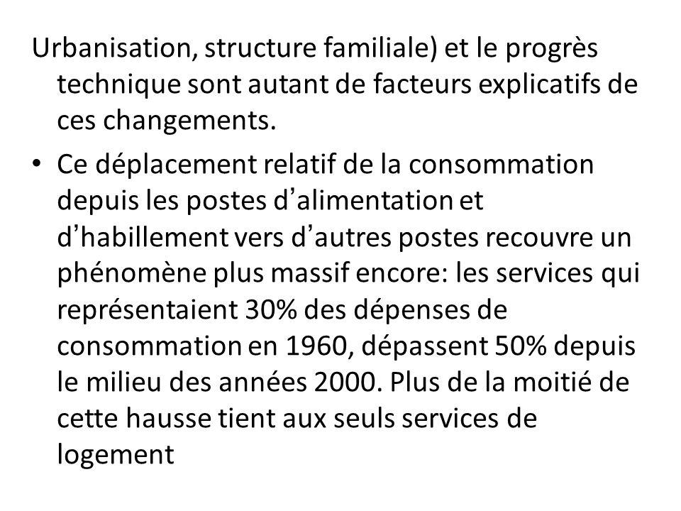Urbanisation, structure familiale) et le progrès technique sont autant de facteurs explicatifs de ces changements.