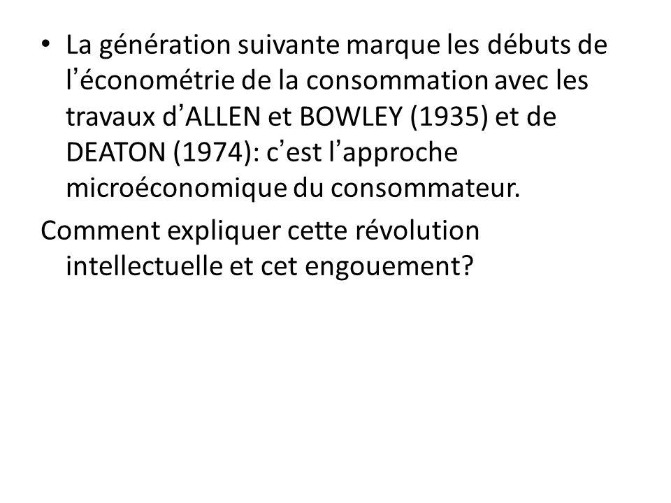 La génération suivante marque les débuts de l'économétrie de la consommation avec les travaux d'ALLEN et BOWLEY (1935) et de DEATON (1974): c'est l'approche microéconomique du consommateur.