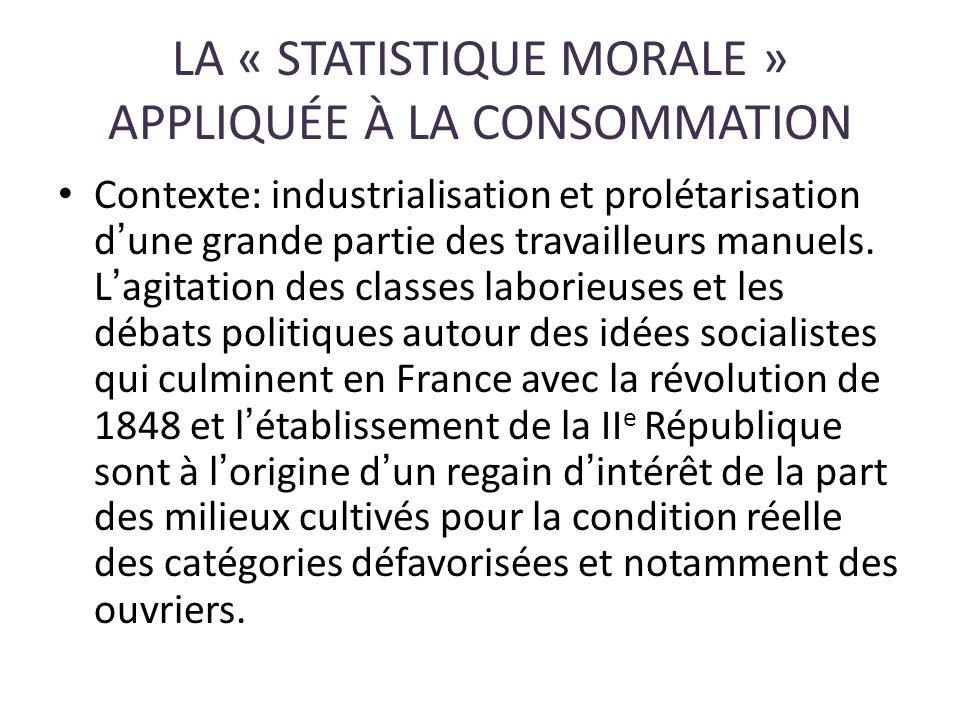 LA « STATISTIQUE MORALE » APPLIQUÉE À LA CONSOMMATION