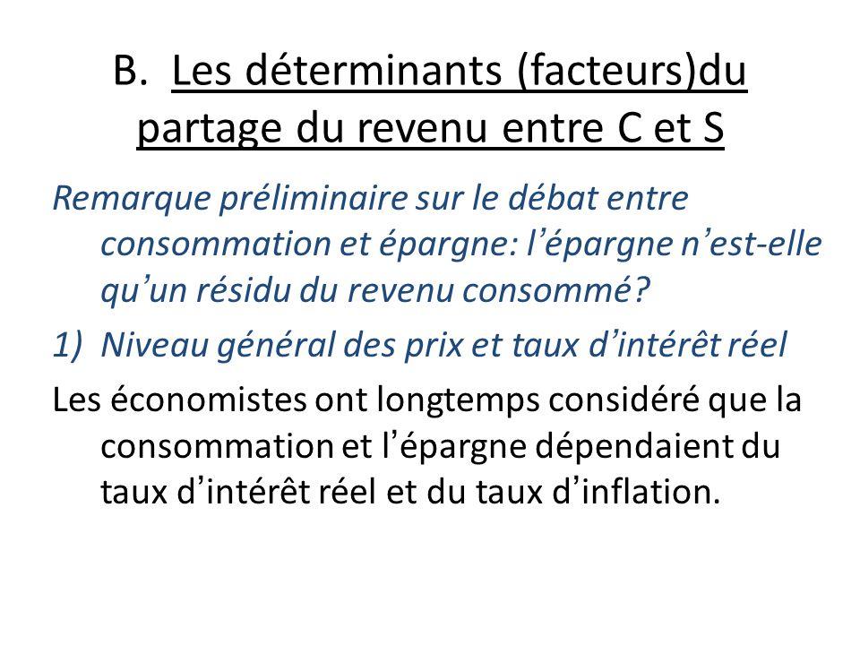B. Les déterminants (facteurs)du partage du revenu entre C et S