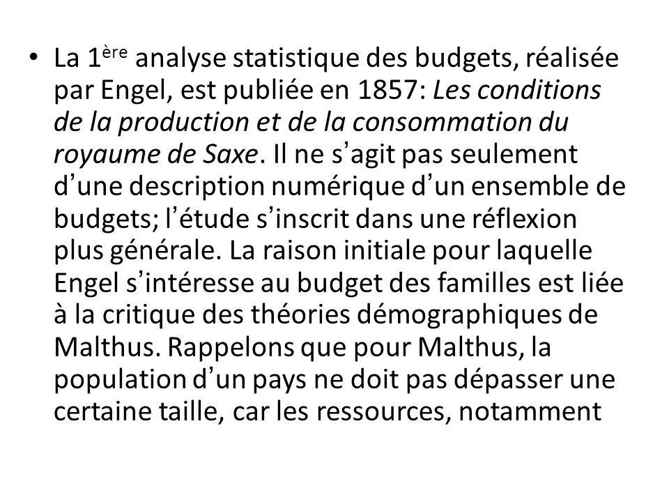 La 1ère analyse statistique des budgets, réalisée par Engel, est publiée en 1857: Les conditions de la production et de la consommation du royaume de Saxe.