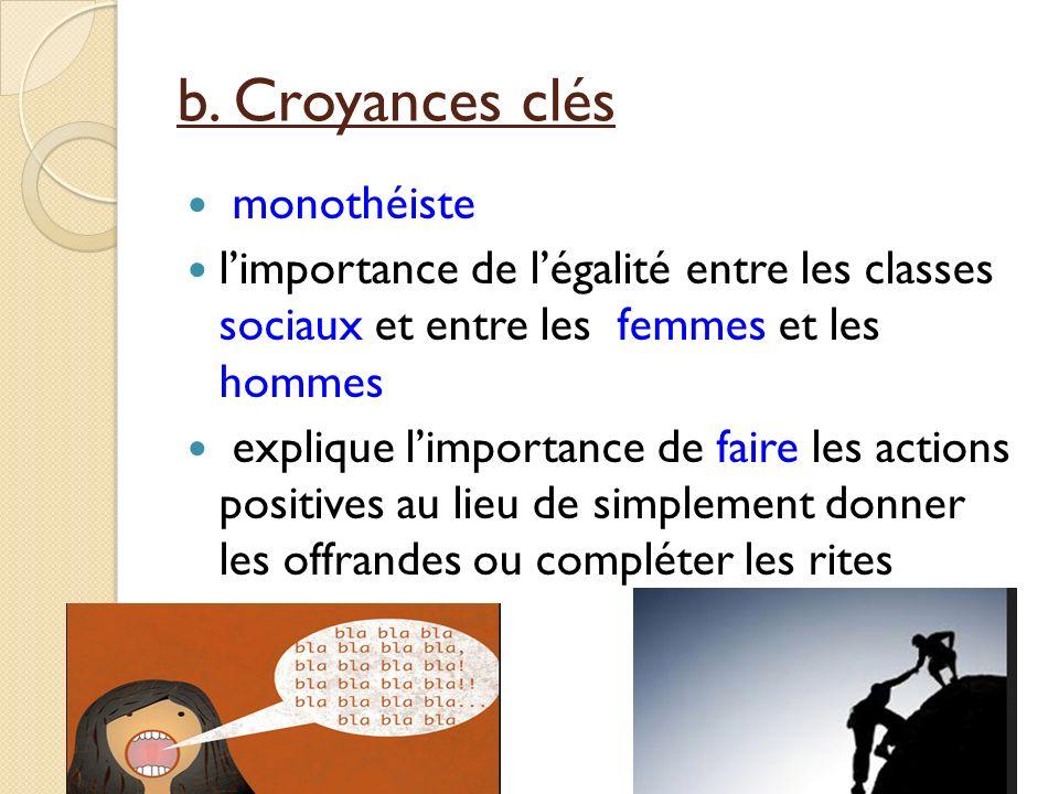 b. Croyances clés monothéiste