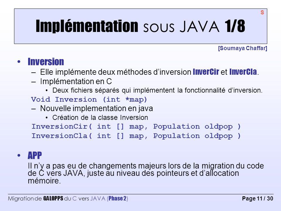 Implémentation sous JAVA 1/8