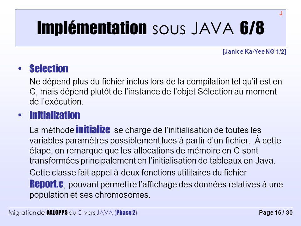 Implémentation sous JAVA 6/8