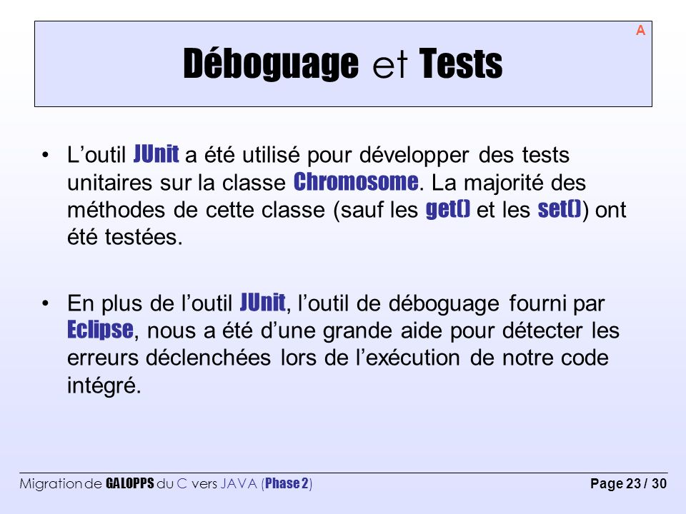 Déboguage et Tests A.