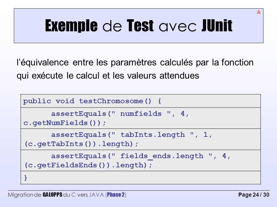 Exemple de Test avec JUnit