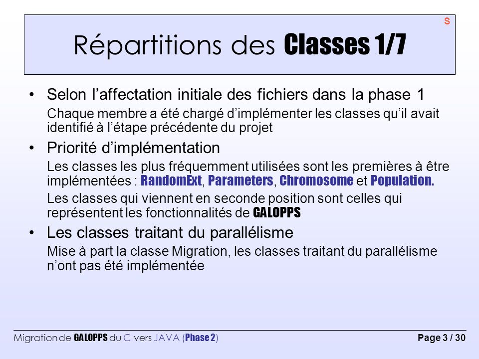 Répartitions des Classes 1/7
