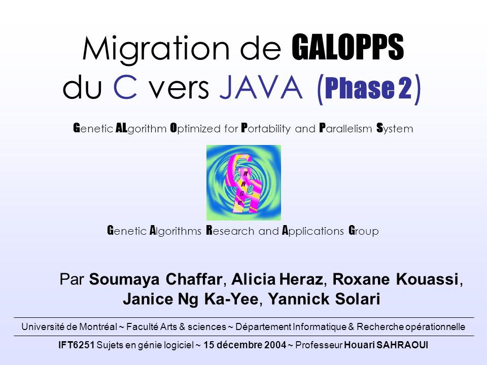 Migration de GALOPPS du C vers JAVA (Phase 2)