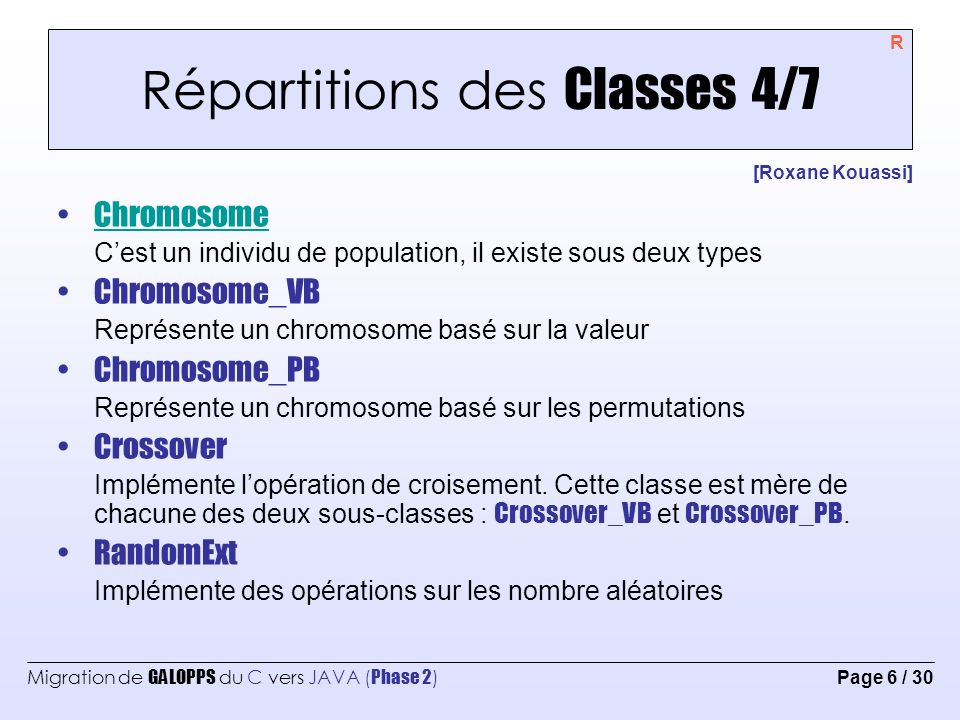 Répartitions des Classes 4/7