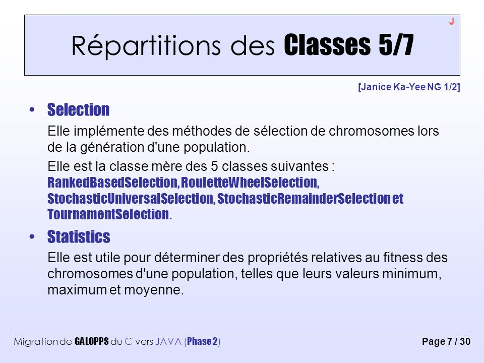 Répartitions des Classes 5/7