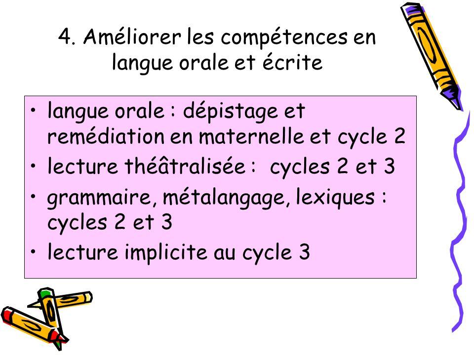4. Améliorer les compétences en langue orale et écrite